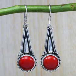 925 Sterling Silver Jewelry Coral Gemstone Wholesale Earring SJWE-11