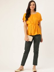 Jaipur Kurti Women Mustard & Olive Solid Straight Silk Crepe Top With Pants