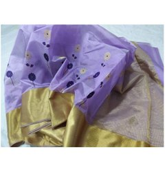 Handwoven Party Wear Purple Pattu Silk Saree, 6.3 M ( With Blouse Piece)