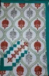 Rectangular Multicolor Hand Block Print Cotton Table Cover, Size: 63*90