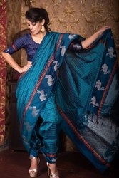 Raw Silk Saree With Silver Jari Border