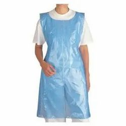 Plain Blue Disposable Plastic Apron