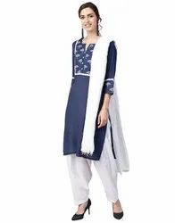 Jaipur Kurti Women Navy Blue & White Ethnic Motifs Straight Cotton Kurta With Patiala Dupatta