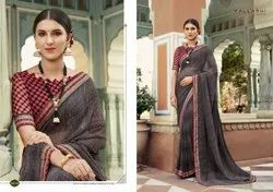 Cotton Party Wear Saree, With blouse piece