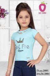 Girl L.blue Cute Selfie Print Half Sleeve Top