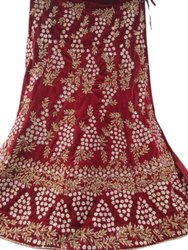 Jacquard Semi-Stitched Bridal Designer Red Lehenga