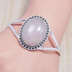 925 Solid Silver Jewelry Bangles Free Size Rose Quartz Gemstone SJWB-102