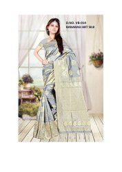 Grey Printed Lichi Silk Designer Saree, 5.5 m (Separate Blouse Piece)