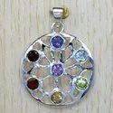 925 Sterling Silver Chakra Jewelry Multi Gemstone Pendant