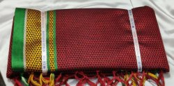 Border TRT 6 M Maroon Khoon Saree, With blouse piece