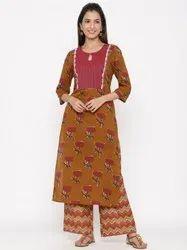 Jaipur Kurti Women Brown Floral Straight Cotton Kurta With Palazzo