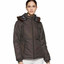 Nylon Hooded Ladies Fancy Winter Jacket