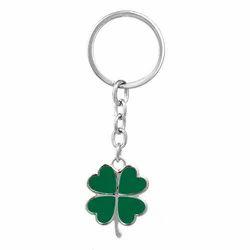 Green Leaf Shaped Silver Keychain