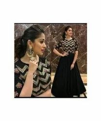 Party Wear Ladies Black Embroidered Gown, Size: Xl