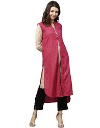Jaipur Kurti Women Pink Geometric Straight Rayon Shrug