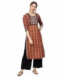 Jaipur Kurti Women Maroon Ethnic Motifs Straight Cotton Kurta With Palazzo