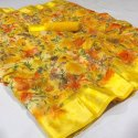 Border Yellow Ladies Printed Silk Saree, Machine Wash, 6 M (with Blouse Piece)