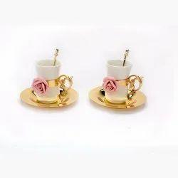 Porcelain Rose Embellished Golden Tea Cup Set (Set Of Two)