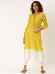 Jaipur Kurti Yellow Ombre Embellished Kurta