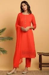 Janasya Women''s Red Cotton Flex Kurta With Pant And Dupatta
