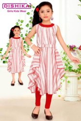 Pink Girls Cotton Party Wear Frock