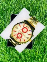 Men Round Golden Wrist Watch, For Daily