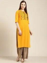 Jaipur Kurti Mustard Embroidered Straight Kurta
