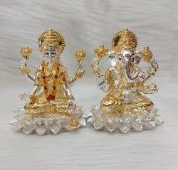 Silver Plated Laxmi Ganesh Idol T T