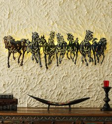 Iron Beautiful Horse LED Wall Decor Item