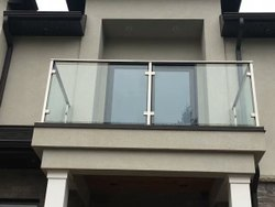 Silver Stainless Steel and Plain Glass Balcony Railing