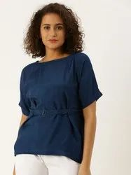 Jaipur Kurti Teal Solid Boxy Top With Belt