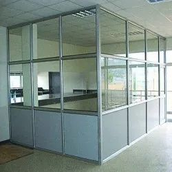 Aluminium Frame Glass Partition, For Office, Thickness: 6mm