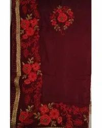 Party Wear Embroidered Ladies Silk Saree, 5.5 m (separate blouse piece)