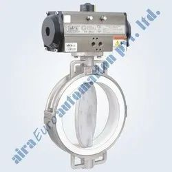 Pneumatic FEP / PFA Lined Butterfly Valve
