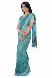 Festive Wear Ladies Sea Green Printed Banarasi Silk Saree, 6.5 m (with blouse piece)