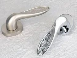 Carved Golden And Chrome Plated Door Lever Handle-82