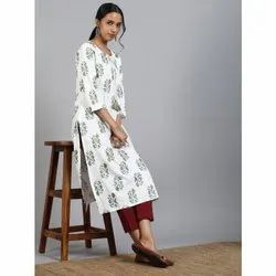 Janasya Women''s Off White Cotton Kurta(JNE3488)