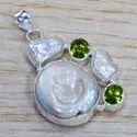 925 Sterling Silver Fashion Jewelry Citrine, Pearl Gemstone Pendant