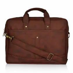 Plain Vintage Brown Leather Office Laptop Bag, Size: 42x33cm