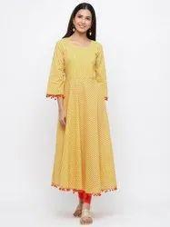 Jaipur Kurti Women Yellow Ethnic Motif Flared Cotton Kurta