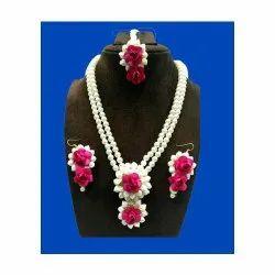 Spectrum Jaipur Wedding Fashionable Pink Rose Flower Jewellery Set