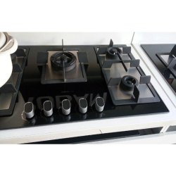 Glass Black 5 Burner Gas Stove, For Kitchen, Size: 825 X 475 X 50 Mm