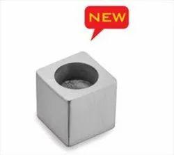 Aluminium Polished Square Glass Center Button, Size: 16mm