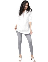 Jaipur Kurti Women Grey Solid Cotton Lycra Leggings