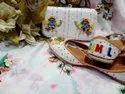 Yellow Color Multi Work Designer Jutti With Matching Clutch