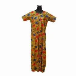 Multicolor Ladies Cotton Printed Zip Nightgown