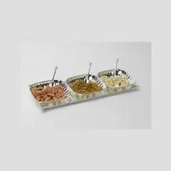 Designer Silver Bowl And Tray Set