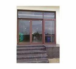 Powder Coated Brown Aluminium Casement Door, For Commercial