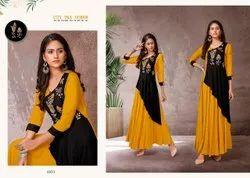 Casual Wear Anarkali Heavy Rayon Embroidery Long Kurti