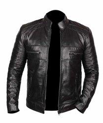 Full Sleeve Black Men Leather Winter Jacket
